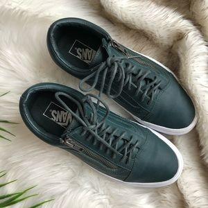5e5f44f27e Vans Shoes - Vans Old Skool Zip Leather Sneakers Green Gables